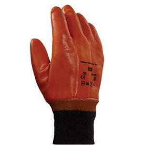 Ansell Size 10 Brown Winter Monkey Grip Jersey Lined Cold Weather Gloves With Wing Thumb, Knit Wrist, PVC Fully Coated And Foam Insulation