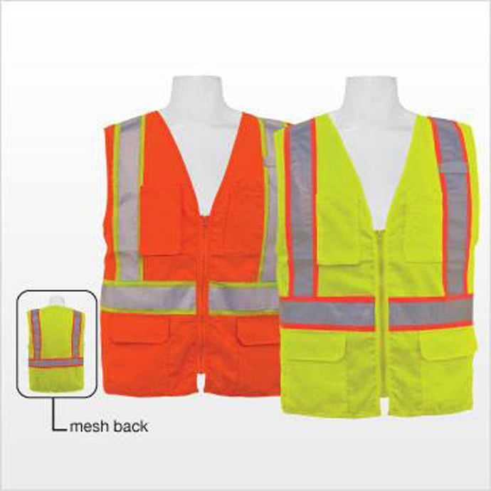 3A Safety - ANSI Certified Multi-pocket Safety Vest with Mesh Back Lime Color Size 4X-large