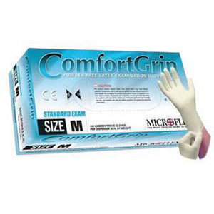 "Microflex X-Large Natural 9 1/2"" ComfortGrip 5.1 mil Latex Ambidextrous Non-Sterile Exam or Medical Grade Powder-Free Disposable Gloves With Textured Finish, Standard"