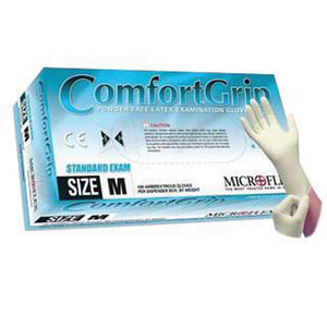 "Microflex X-Small Natural 9 1/2"" ComfortGrip 5.1 mil Latex Ambidextrous Non-Sterile Exam or Medical Grade Powder-Free Disposable Gloves With Textured Finish, Standard"