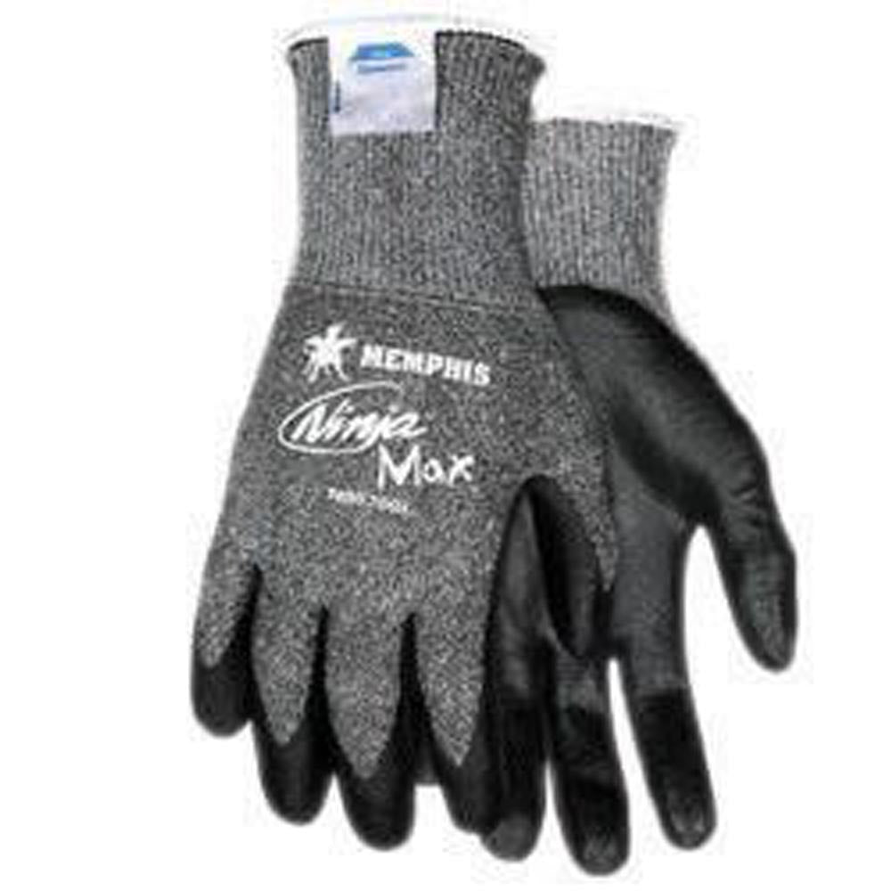 Memphis Medium Ninja Max 10 Gauge Cut Resistant Black Bi-Polymer Palm And Fingertip Coated Work Gloves With Dyneema And Lycra Liner And Knit Wrist