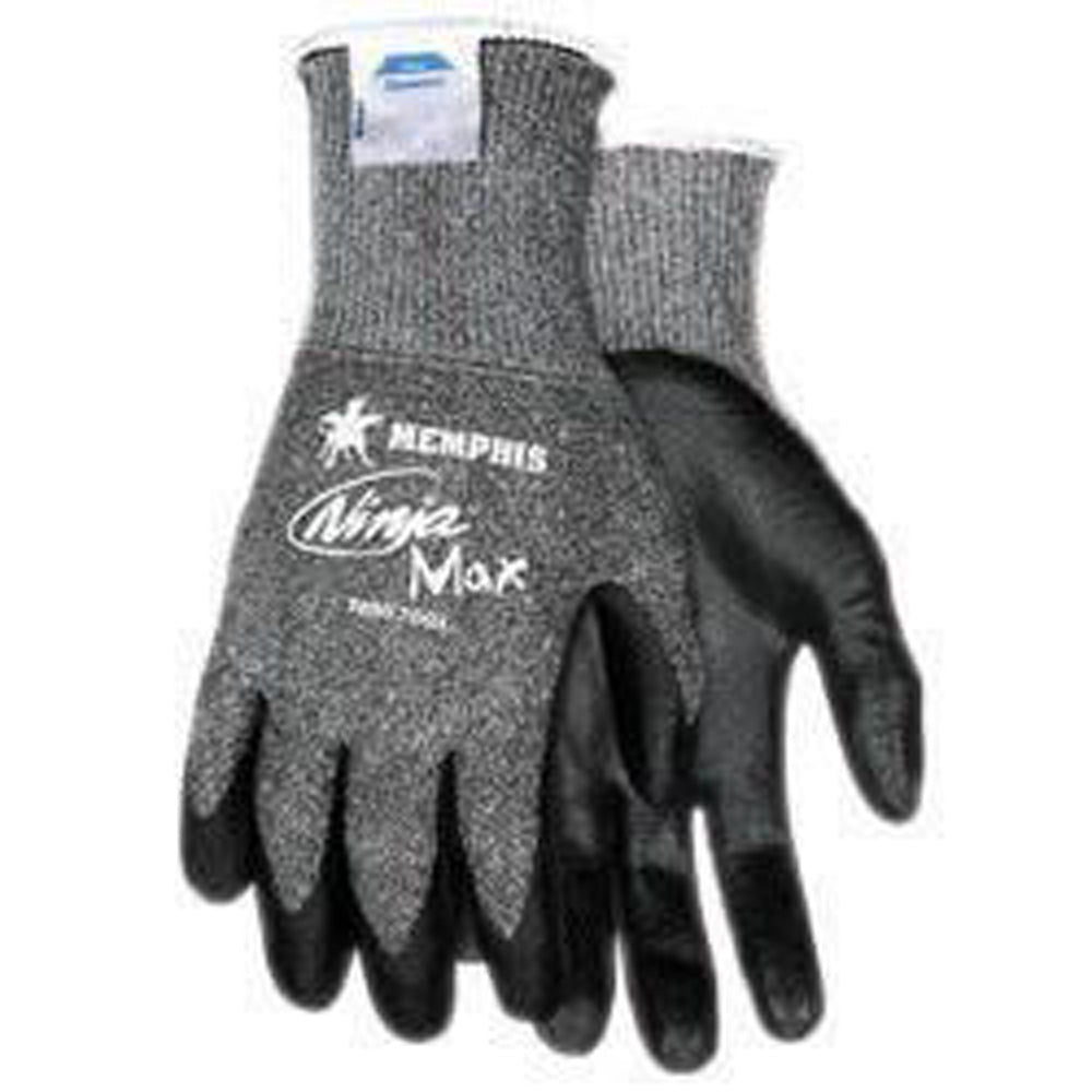 Memphis Small Ninja Max 10 Gauge Cut Resistant Black Bi-Polymer Palm And Fingertip Coated Work Gloves With Dyneema And Lycra Liner And Knit Wrist