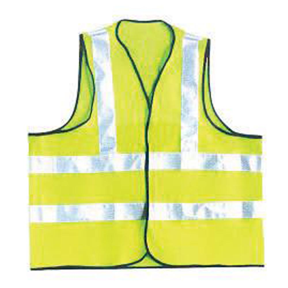 OccuNomix Large Hi-Viz Yellow OccuLux Premium Light Weight Solid Cool Polyester Tricot Class 2 Dual Stripe Full Sleeveless Traffic Vest With Front Hook And Loop Closure And