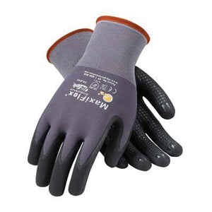 Protective Industrial Products 34-844/M Medium MaxiFlex Endurance by ATG 15 Gauge Abrasion Resistant Black Micro-Foam Nitrile Palm And Fingertip Coated Work Gloves With Gray Seamless Knit