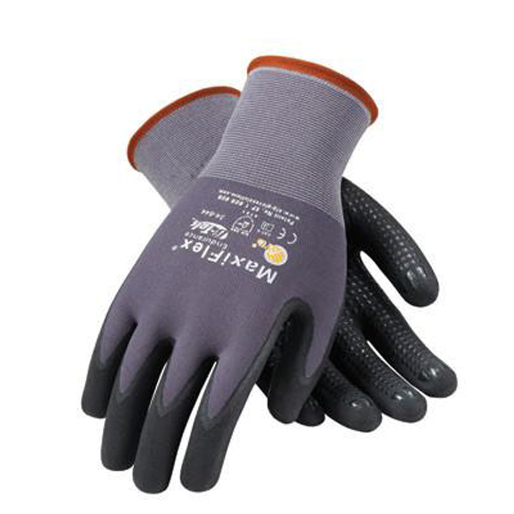 Protective Industrial Products 34-844/S Small MaxiFlex Endurance by ATG 15 Gauge Abrasion Resistant Black Micro-Foam Nitrile Palm And Fingertip Coated Work Gloves With Gray Seamless Knit