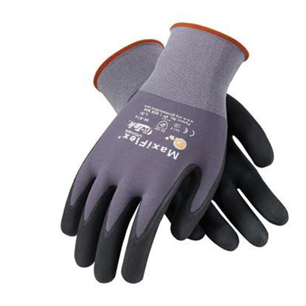 Protective Industrial Products Small MaxiFlex Ultimate by ATG 15 Gauge Abrasion Resistant Black Micro-Foam Nitrile Palm And Fingertip Coated Work Gloves With Gray Seamless Knit Nylon And