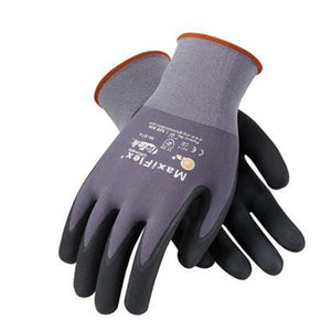 Protective Industrial Products X-Large MaxiFlex Ultimate by ATG 15 Gauge Abrasion Resistant Black Micro-Foam Nitrile Palm And Fingertip Coated Work Gloves With Gray Seamless Knit Nylon And