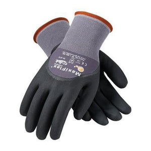 Protective Industrial Products X-Large MaxiFlex Ultimate by ATG 15 Gauge Abrasion Resistant Black Micro-Foam Nitrile Palm, Finger And Knuckle Coated Work Gloves With Gray Seamless Knit Nylon And