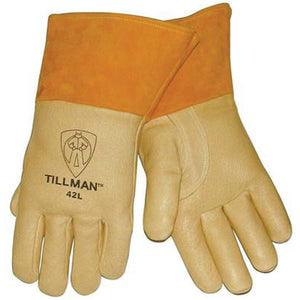 "Tillman Large Brown Top Grain Pigskin Cotton/Foam Lined Premium Grade MIG Welders Gloves With Straight Thumb, 4"" Cuff And Kevlar Lock Stitching"