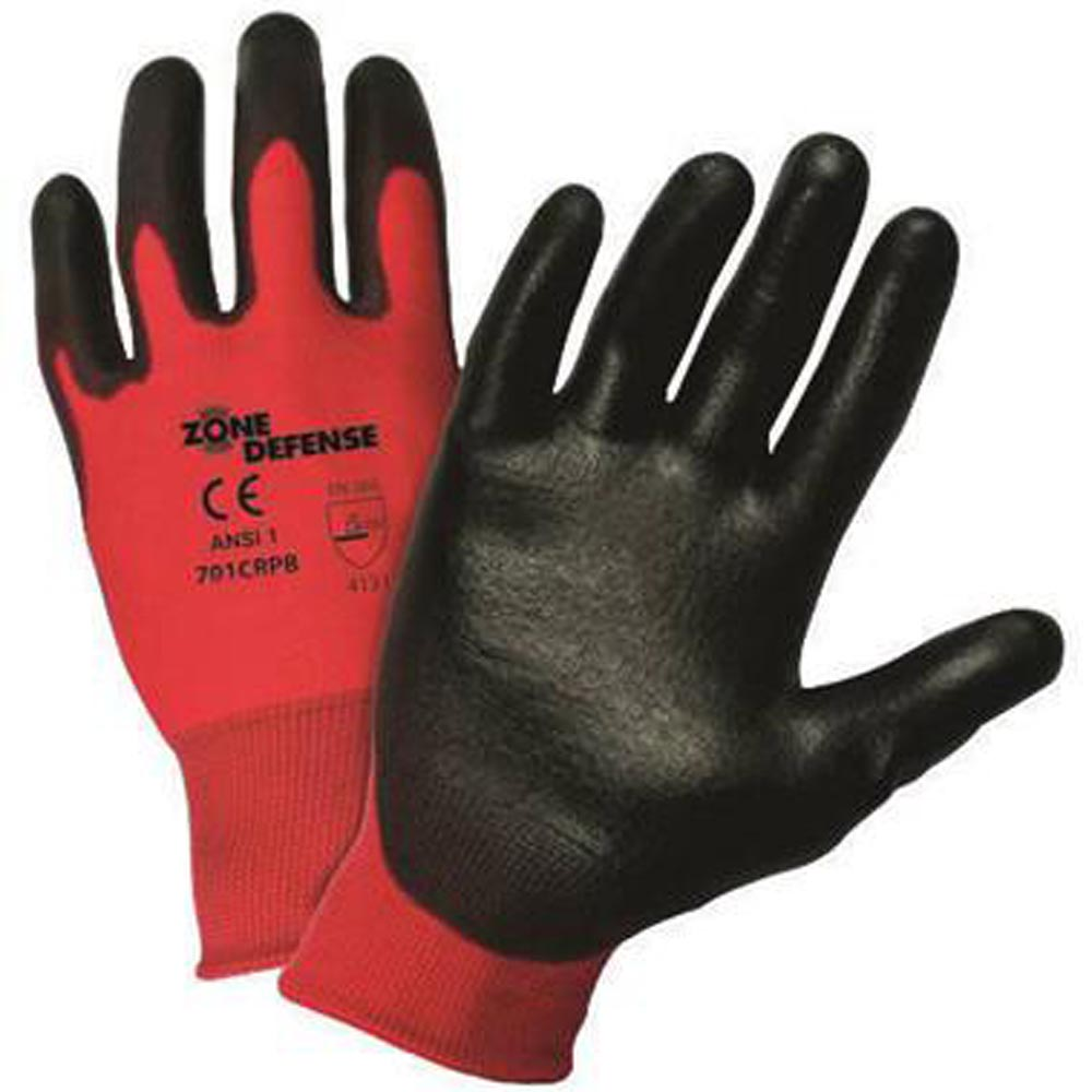 West Chester Small Zone Defense Cut And Abrasion Resistant Black Polyurethane Dipped Palm Coated Work Gloves With Elastic Knit Wrist
