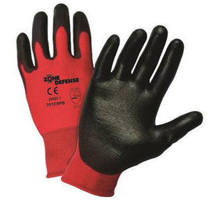 West Chester X-Large Zone Defense Cut And Abrasion Resistant Black Polyurethane Dipped Palm Coated Work Gloves With Red Liner And Elastic Knit Wrist