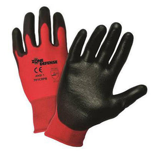 West Chester 2X Zone Defense Cut And Abrasion Resistant Black Polyurethane Dipped Palm Coated Work Gloves With Red Liner And Elastic Knit Wrist