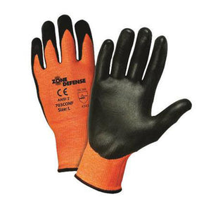 West Chester Large Zone Defense Cut And Abrasion Resistant Black Nitrile Foam Palm Coated Work Gloves With Elastic Knit Wrist