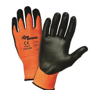 West Chester Medium Zone Defense Cut And Abrasion Resistant Black Nitrile Foam Palm Coated Work Gloves With Elastic Knit Wrist