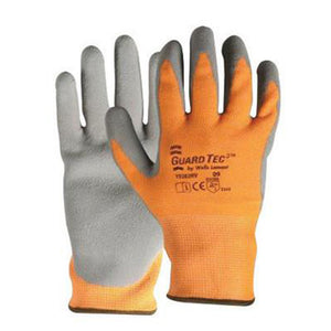 Wells Lamont Medium Hi-Viz Orange And Gray GuardTec3 Dipped Cut Resistant Gloves With Knitwrist And Thermal Lining