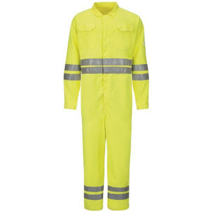 Bulwark Men's Long Hi-Vis Deluxe Coverall With Reflective Trim - Cooltouch 2 - 7 Oz.