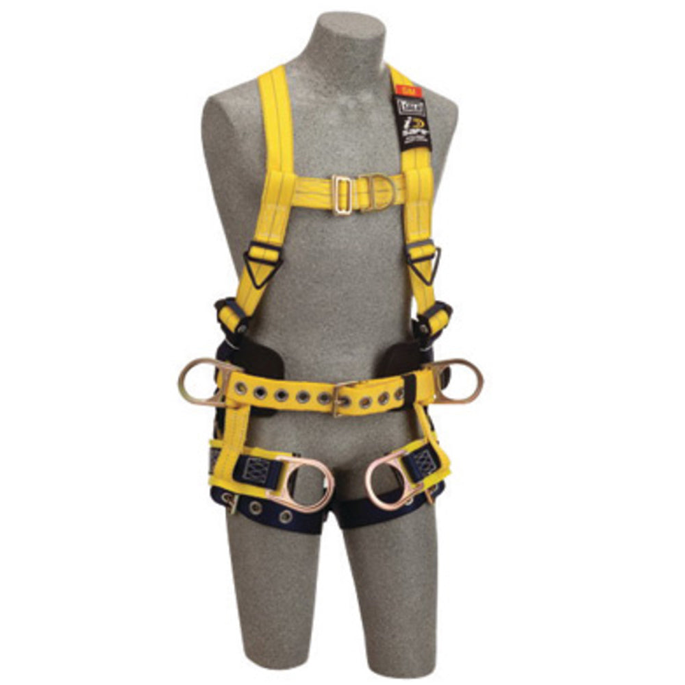 3M DBI-SALA Medium Delta No-Tangle Full Body/Vest Style Harness With Back, Front And Side D-Ring, Tongue Leg Strap Buckle, Belt With Pad, Seat Sling With Positioning D-Ring And 2 Tool/Pouch D-Ring