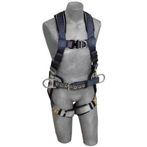 3M DBI-SALA ExoFit Construction Full Body Vest Style Harness With Back, Side And Front D-Ring, Belt With Pad, Quick Connect Chest And Leg Strap Buckle And Built-In Comfort Padding
