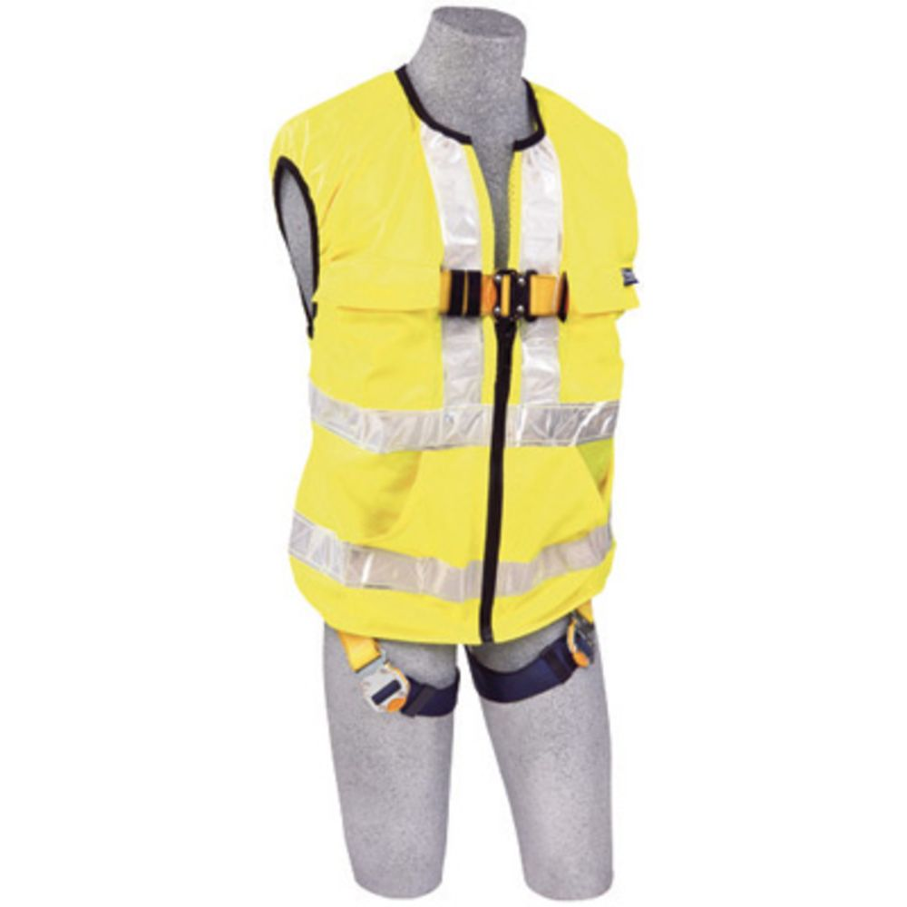 3M DBI-SALA Small Delta Hi-Vis Reflective Work Vest Style Harness With Back D-Ring And Quick Connect Buckle Leg Strap