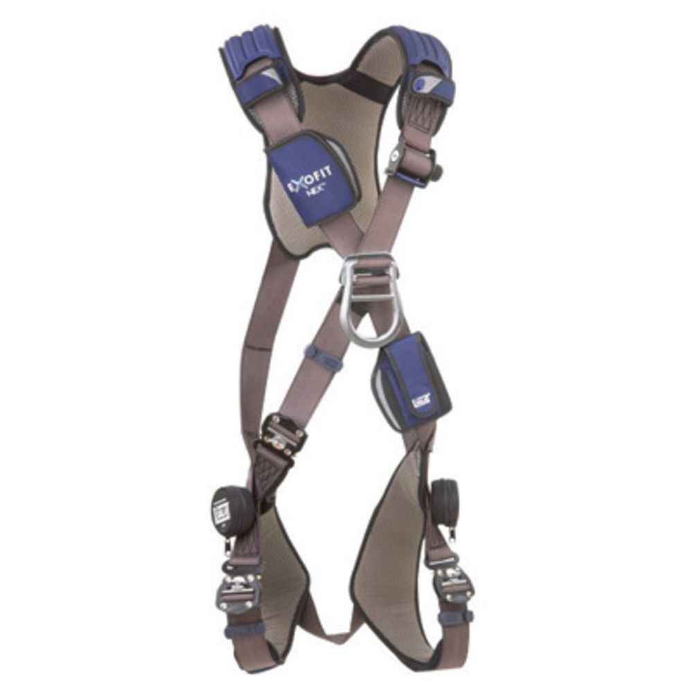 3M DBI-SALA Medium ExoFit NEX Cross Over/Full Body Style Harness With Tech-Lite Aluminum Back And Front D-Ring, Duo-Lok Quick Connect Leg Strap Buckle, Torso Adjuster, Back And Leg Comfort Padding