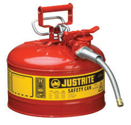 "Justrite® 2 1/2 Gallon Red AccuFlow™ Galvanized Steel Type II Vented Safety Can With Stainless Steel Flame Arrester And 1"" Metal Hose (For Flammable Liquids)"