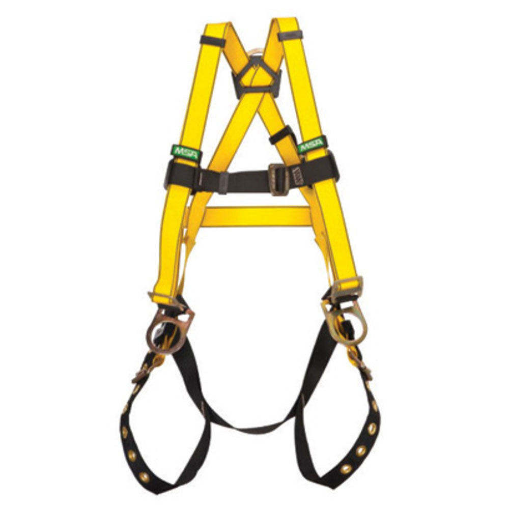 MSA Super X-Large Workman Full Body Style Harness With Qwik-Fit Chest Strap Buckle, Tongue Leg Strap Buckle And Back And Hip D-Ring