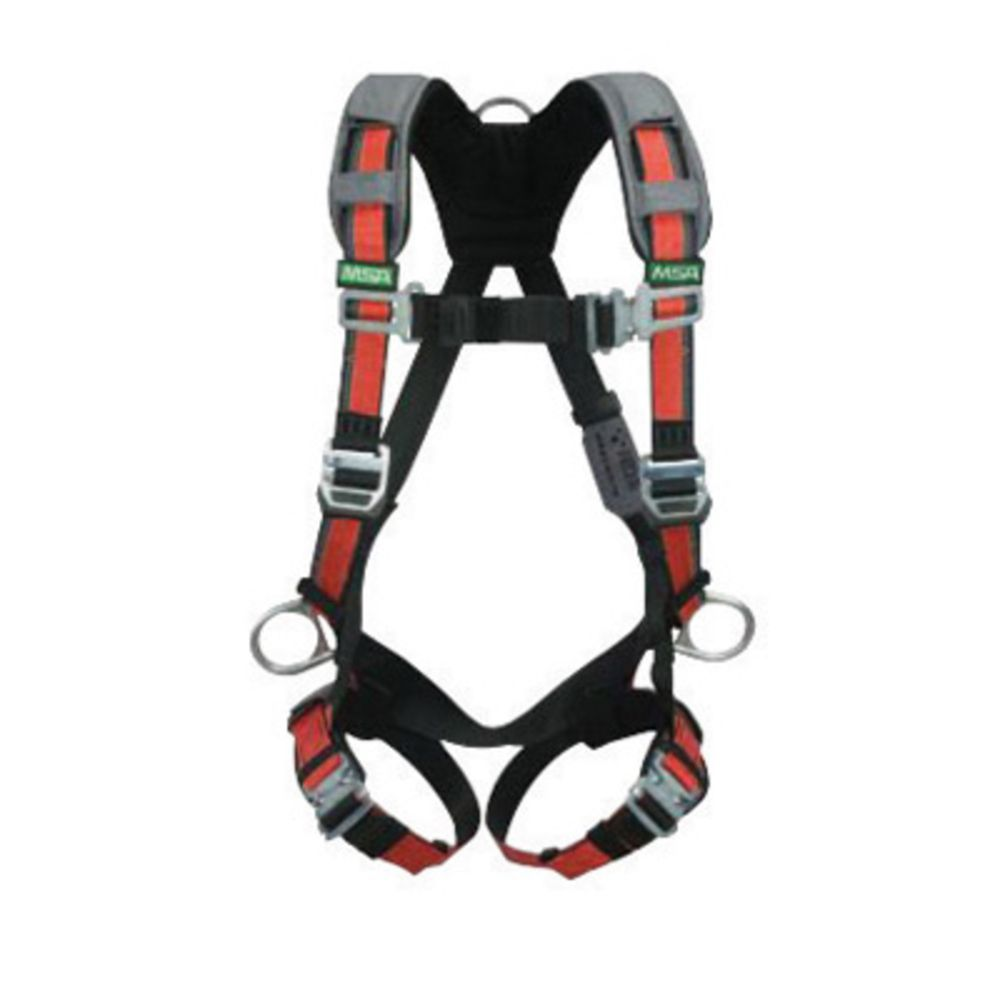 MSA Standard EVOTECH Full Body Style Harness With Qwik-Connect Chest And Leg Strap Buckle, Back And Hip D-Ring And Shoulder Padding