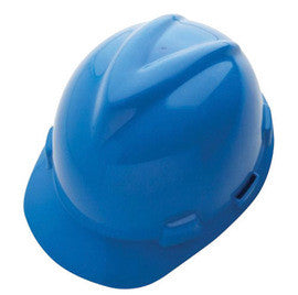 MSA Blue V-Gard® GHDPE Hard Cap With 4 Point Fas Trac® With Ratchet Suspension