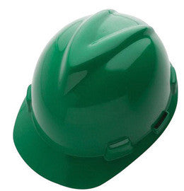 MSA Green V-Gard® GHDPE Hard Cap With 4 Point Fas Trac® With Ratchet Suspension