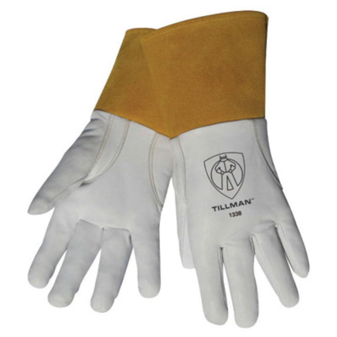 Tillman Pearl And Gold Top Grain Goatskin Leather Unlined TIG Welders Gloves With Glide Patch, 4