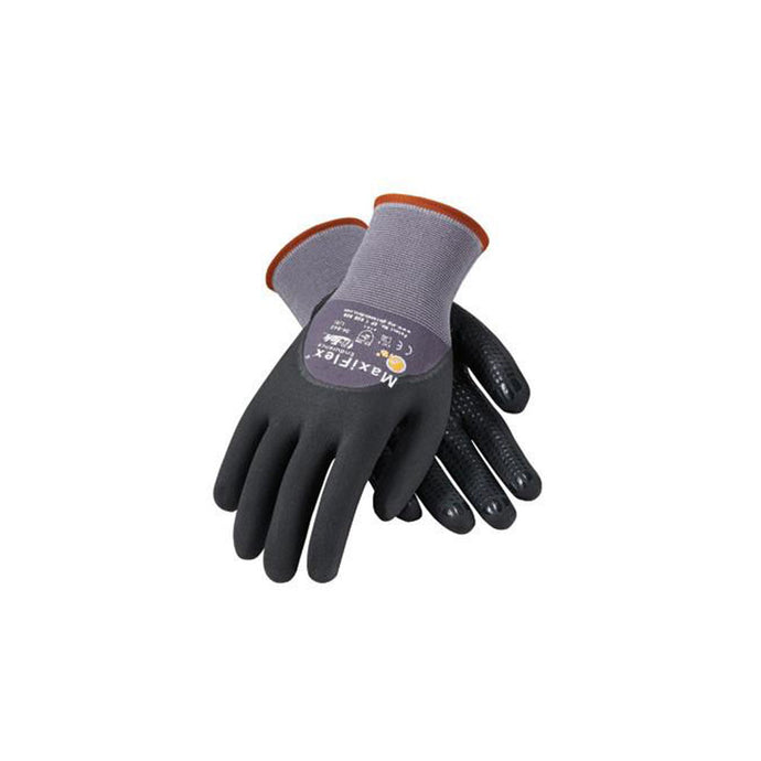 Protective Industrial Products 34-845/L Large MaxiFlex Endurance by ATG 15 Gauge Abrasion Resistant Black Micro-Foam Nitrile Palm And Fingertip Coated Work Gloves With Gray Seamless Knit