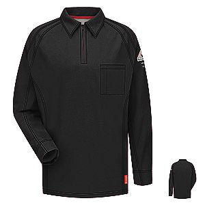 VF Imagewear Bulwark IQ 3X Black 5.3 Ounce 69% Cotton 25% Polyester 6% Polyoxadiazole Men's Long Sleeve Flame Resistant Polo Shirt With Concealed Pencil Stall, Chest Pocket And Sleeve Pocket