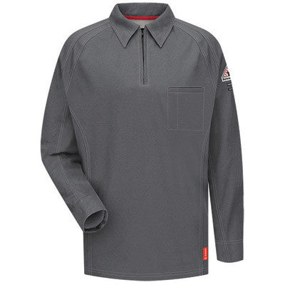 VF Imagewear Bullwark iQ Series 3X Regular Charcoal 5.3 Ounce Lightweight 69% Cotton 25% Polyester 6% Polyoxadiazole Men's Flame Resistant Long Sleeve Polo Shirt With Placket