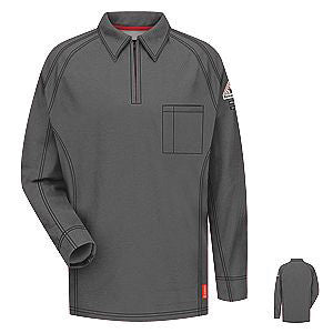 VF Imagewear Bulwark IQ 4X Charcoal 5.3 Ounce 69% Cotton 25% Polyester 6% Polyoxadiazole Men's Long Sleeve Flame Resistant Polo Shirt With Concealed Pencil Stall, Chest Pocket And Sleeve Pocket