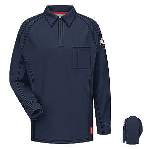 VF Imagewear Bulwark IQ 4X Dark Blue 5.3 Ounce 69% Cotton 25% Polyester 6% Polyoxadiazole Men's Long Sleeve Flame Resistant Polo Shirt With Concealed Pencil Stall, Chest Pocket And Sleeve Pocket