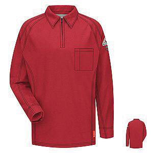 VF Imagewear Bulwark IQ 4X Red 5.3 Ounce 69% Cotton 25% Polyester 6% Polyoxadiazole Men's Long Sleeve Flame Resistant Polo Shirt With Concealed Pencil Stall, Chest Pocket And Sleeve Pocket