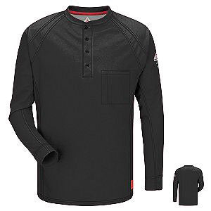 VF Imagewear Bulwark IQ 4X Black 5.3 Ounce 69% Cotton 25% Polyester 6% Polyoxadiazole Men's Long Sleeve Flame Resistant Henley Shirt With Concealed Pencil Stall And Chest Pocket