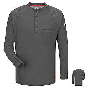 VF Imagewear Bulwark IQ 4X Charcoal 5.3 Ounce 69% Cotton 25% Polyester 6% Polyoxadiazole Men's Long Sleeve Flame Resistant Henley Shirt With Concealed Pencil Stall And Chest Pocket