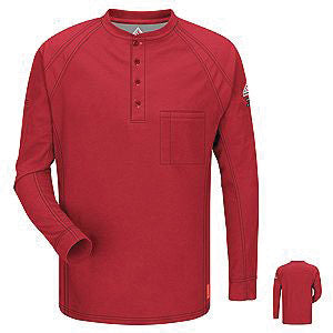 VF Imagewear Bulwark IQ 4X Red 5.3 Ounce 69% Cotton 25% Polyester 6% Polyoxadiazole Men's Long Sleeve Flame Resistant Henley Shirt With Concealed Pencil Stall And Chest Pocket