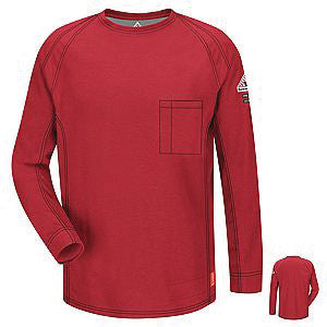 VF Imagewear Bulwark IQ 4X Red 5.3 Ounce 69% Cotton 25% Polyester 6% Polyoxadiazole Men's Flame Resistant T-Shirt With Concealed Chest Pocket