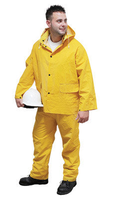 Radnor 4X Yellow .35 mm Polyester And PVC 3 Piece Rain Suit