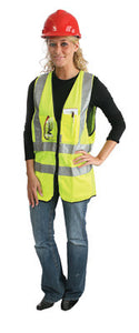 "Radnor Medium Yellow Lightweight Polyester Class 2 Surveyor's Vest With Zipper Front Closure, 2"" 3M Scotchlite Reflective Tape Striping, Fully Dielectric, Non-Conductive Zipper And 12 Pockets"