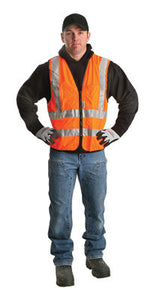 "Radnor 2X Orange Lightweight Polyester Class 2 Surveyor's Vest With Zipper Front Closure, 2"" 3M Scotchlite Reflective Tape Striping, Fully Dielectric, Non-Conductive Zipper And 12 Pockets"