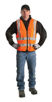 Radnor 2X Orange Lightweight Polyester Class 2 Surveyor's Vest With Zipper Front Closure, 2