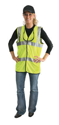 Radnor Large Yellow Lightweight Polyester And Mesh Class 2 Classic Vest With Front Hook And Loop Closure And 2