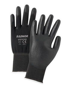 Radnor 2X 13 Gauge Economy Black Polyurethane Palm Coated Work Gloves With Black Nylon Knit Liner