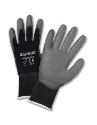 Radnor X-Small 15 Gauge Gray Premium Polyurethane Palm Coated Work Gloves With Black Nylon Liner