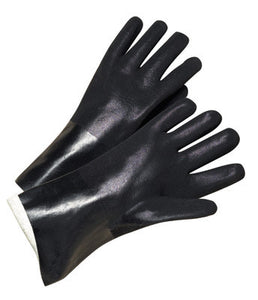"Radnor Large 10"" Black Double Dipped PVC Glove With Sandpaper Grip And Interlock Lining"