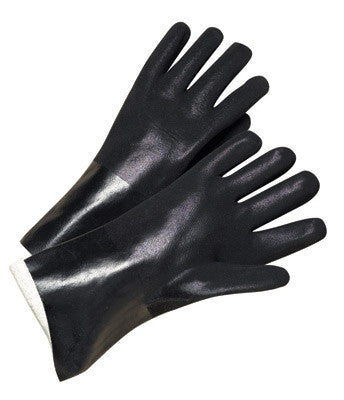 Radnor Large Black Double Dipped PVC Glove With Sandpaper Grip, Interlock Lining And Knitwrist
