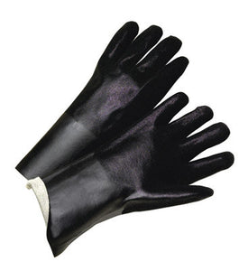 "Radnor Large 14"" Black Double Dipped PVC Glove With Sandpaper Grip And Jersey Lining"